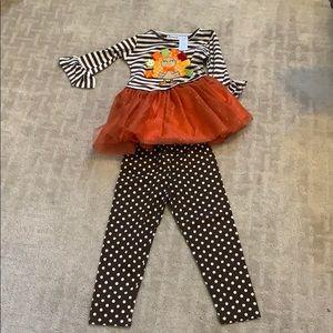 Girl's matching Turkey Set, Sizes 2T, 3T & 4T
